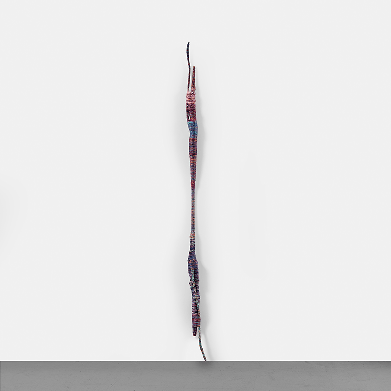 Psychedelic soul stick, 2004 Silk threads on bamboo 47 1/4 x 1 7/9 x 2 in. (120 x 4.50 x 5 cm.)